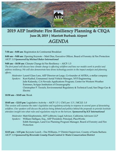 2019 Institute Agenda