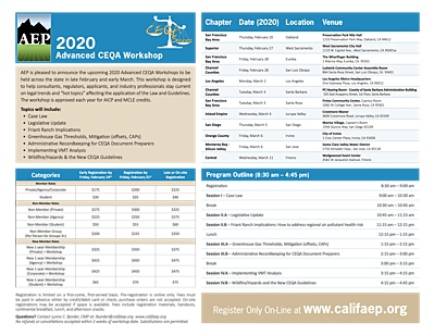 2020 Advanced CEQA Workshop Flyer